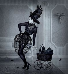 A birdcage skirt and a crow stroller. What more do you need for Halloween