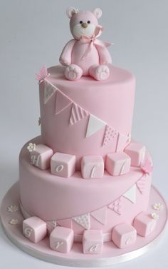 Two-tier cake with a cute bear and cubes made of fondant, striking christening cakes for girls cake decorating recipes kuchen kindergeburtstag cakes ideas Baby Girl Christening Cake, 1st Birthday Cakes, Cake Cover, Girl Cakes, Celebration Cakes, Baby Shower Cakes, Beautiful Cakes, Fondant, Grand Jour