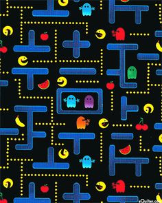 Pocket Arcade: Pac-Man by Timeless Treasures First Birthday Presents, Conversational Prints, Man Quilt, Novelty Print, Colorful Pictures, Retro, Background Patterns, So Little Time, Pac Man