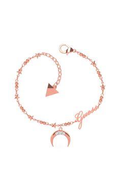 Βραχιόλι Φεγγάρι και Αστέρια με Λογότυπο σε Ροζ Επιχρυσωμένο Ανοξείδωτο Ατσάλι και Ζιργκόν Bracelets, Gold, Jewelry, Jewlery, Jewerly, Schmuck, Jewels, Jewelery, Bracelet