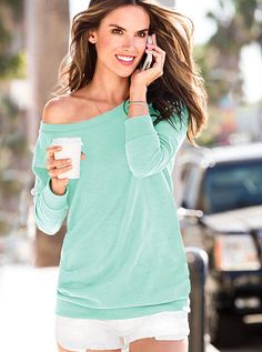 Fleece Off-the-Shoulder Tunic