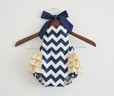 Navy/White Chevron Retro Style Sunsuit Romper / Size NB, 0-3m, 3-6m, 6-12m, 12-18m and 18-24m. $37.00, via Etsy.