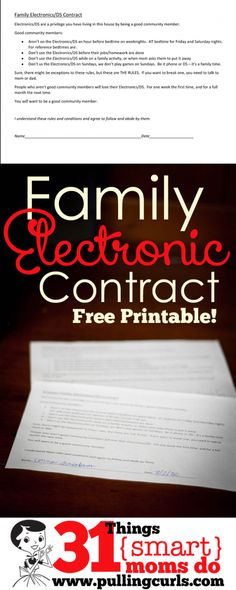This Family electronics consent will keep your kids honest, but also knowing the consequences if they break it.