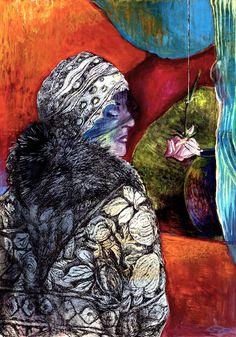 Gabriele Strehlau, Musterfrau, Gouache / Tusche auf Papier, 30 x 20 cm, 2009, VERKAUFT