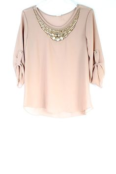 Chiffon Top With Embellished Neck