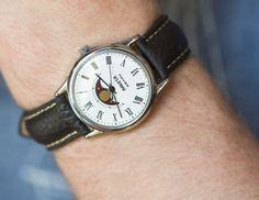 Unused quartz watch Moon phases men's watch silver by SovietEra