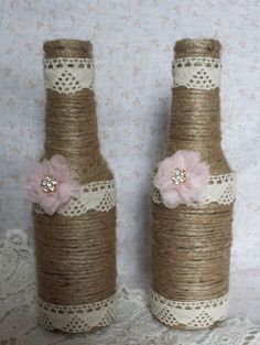 Twine Wrapped Bottles with Lace. Rustic Wedding Decor  www.etsy.com/shop/vintagerusticcharm