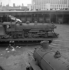 CNW, Chicago, Illinois, 1952 Chicago & North Western no. 514 rides the turntable at the Erie Street Yard engine terminal in Chicago in Photograph by Wallace W. Abbey, © Center for Railroad Photography and Art. Gandy Dancer, Old Trains, Vintage Trains, West Virginia History, Model Railway Track Plans, Railroad Photography, Abandoned Amusement Parks, Train Art, Train Pictures