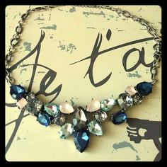 Multi tone silver statement necklace Blush, blue and silver jewels makes this perfect for any occasion! LOFT Jewelry Necklaces