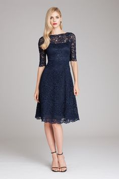 Teri Jon Lace and Tulle V-Neck A-Line Dress | Teri Jon