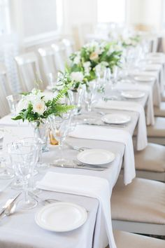 Wedding Colors: Green + White|| Table Linens-- Pale Gray || See the wedding on Style Me Pretty: http://www.StyleMePretty.com/2014/02/13/block-island-wedding-at-the-spring-house-hotel/ Photography: leila brewster