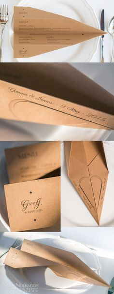 Aeroplane-shaped wedding menu on kraft paper