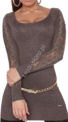 Tunika z dzianiny  mokka - sweter z kryształkami | swetry damskie 8077