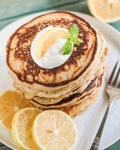 These Healthy Lemon Ricotta Buttermilk Pancakes are SO fluffy and cakey and sweet and delicious, it's hard to believe that with every bite you take, you're indulging in sugar free, high protein, gluten free, and guilt free goodness! These pancakes will keep you full for hours and be the fuel to your successful morning!