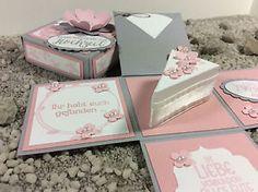 Explosionsbox zur Hochzeit Geldgeschenk Tortenstück Rosa Stampin' Up! Handarbeit