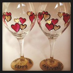 Anniversary hearts hand painted wine glasses.  by angelwoodgifts