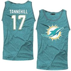 376fb9546 Men s Miami Dolphins Ryan Tannehill Majestic Threads Aqua Primary Logo Name    Number Tri-Blend Tank Top