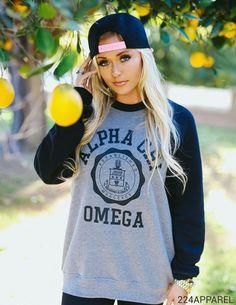 Alpha Chi Omega Colorblock Fleece Sweatshirt