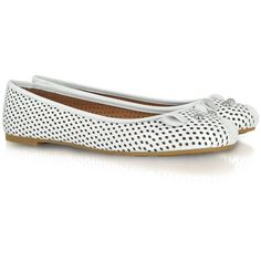 Marc by Marc Jacobs White Perforated Leather Mouse Ballerina ($218) ❤ liked on Polyvore