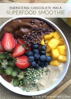 Energizing Maca Superfood Smoothie - Dairy-free, vegan chocolate & vanilla smoothie bowl with a superfood boost. www.rawmanda.com