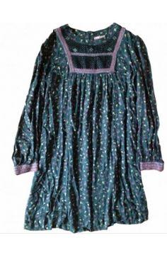 Robe #MADRAS by #APC Vert Fleurs Plastron M