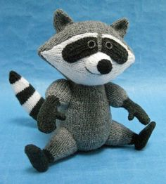 Alan Dart Knitting Pattern: Raccoon Made this for a little boy who loves Racoons, and yes he lives here in Culburra Knitting For Kids, Knitting Projects, Baby Knitting, Animal Knitting Patterns, Stuffed Animal Patterns, Knitted Dolls, Crochet Toys, Knitted Cat, Amigurumi Free