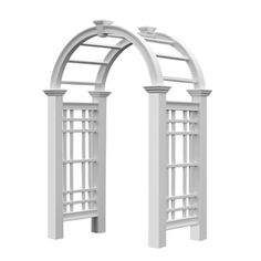 Westchester Vinyl Arbor Garden 32 Decorative Structures - White - Vinyl Arbors - New England Vinyl Arbors Garden Arbor, Garden Gates, Garden Trellis, New England Arbors, Front Yard Decor, Roof Styles, String Lights Outdoor, Gate Design, House Design