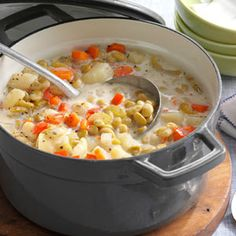 Lima Bean Soup. Use homemade stock, replace potato with rutabaga, replace cream with yogurt or coconut milk.