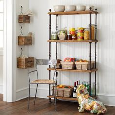 "Love this industrial/reclaimed wood shelf.  Don't know if I want such ""open"" shelving in my busy room though???"