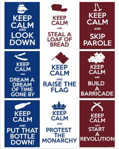 Les Miserables Keep Calm Postcards by TheTangoFox on Etsy