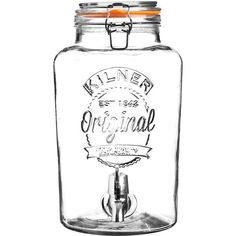 With the Kilner Drink Dispenser, serve any cold beverage in style at your next party. This durable, handmade glass dispenser features a quality chrome plated plastic spigot, glass lid, stainless steel clips and a rubber gasket. The wide mouth opening Kilner Drinks Dispenser, Mason Jar Drinks, Glass Dispenser, Sangria, Carafe, Top Drinks, Summer Beverages, Drink Holder, Partys