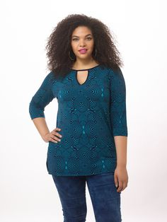 Keyhole Tunic In Peacock Multi by Taylor Dresses, Available in sizes 0X-4X
