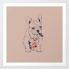 FRENCH BULLDOG BOSS Art Print by Chalermphol Harnchakkham - $22.88