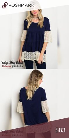 """6x $13 each 3/4 Tunic Dress with Lace 6 Piece Prepack 2 Small 2 Medium 2 Large *for individual pricing visit @modabyboutique  $13 3/4 Sleeve Tunic Dress / top lace detail. Navy and Cream. Scoop Neck  96% polyester 5% spandex Measurements for Large 28"""" length, 38"""" bust, 36"""" waist   Notes: These are quality boutique garments, not something off a chinese website  Discounts availible on bundled listings  Boutique Clothing Wholesales @wholesales MODABYBOUTIQUE wholesale Tops Tunics"""