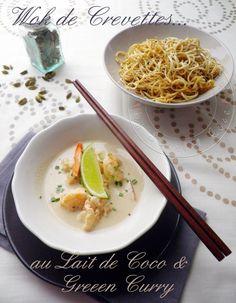 Wok de crevettes au lait de coco et green curry