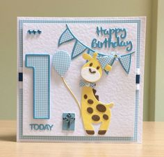 Babykarten First birthday card, handmade - The Marianne Giraffe & The Tonic Number. Baby Birthday Card, Birthday Cards For Boys, Handmade Birthday Cards, Happy Birthday Cards, Diy Birthday, Birthday Quotes, Birthday Wishes, Boy Cards, Kids Cards