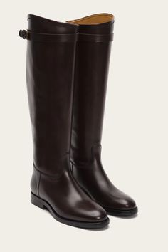 Classic Leather, Italian Leather, Calf Leather, Leather Boots, Equestrian Chic, The Frye Company, Skinny Belt, Frye Boots, Tall Boots