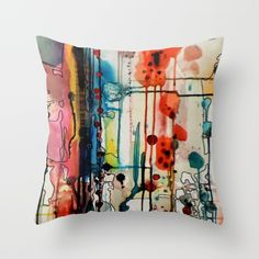 charivari Throw Pillow by sylviedemes Couch Cushion Covers, Cat Cushion, Pillow Covers, Kids Pillows, Sofa Pillows, Cushions, Textile Dyeing, Hand Painted Fabric, Fabric Painting
