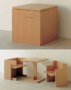 space-saving dining room design, Cube Style features a tiny square table with two booths. All three pieces fit together to form a box when not in use. The table top remains available for holding decorative items or acting as a desk even when the benches are in place. This dining set may save you from eating dinner with the plate balanced on your knees.