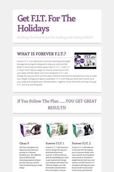 Get F.I.T. For The Holidays!  Easy to follow plan to take the weight off and keep it off.