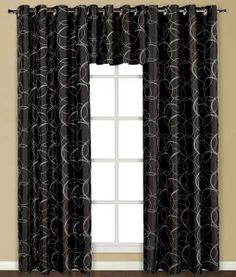 The Sinclair Grommet Curtains is an elegant addition to any window. Panel & Valance is lined. Polyester faux satin accented with embroidered elegant swirl pattern. Black Curtains, Lined Curtains, Grommet Curtains, Valance, Tie Up Shades, Sinclair, Kitchen Dinning, Room Darkening, Retro Home