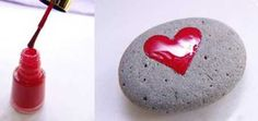 painting rocks ideas, red hearts decorations on beach pebbles