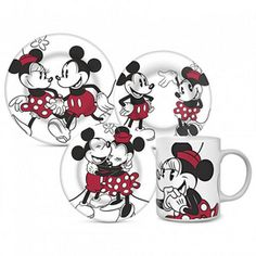 Disney® 'Mickey & Minnie' 4-Piece Retro Dinnerware Set - Sears