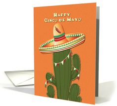 Happy Cinco de Mayo Cactus Wearing a Sombrero card By Betsy Bush