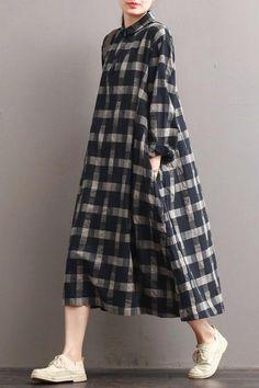 Linen Plaid Casual Loose Shirt Dress,Winter Long Shirt for Women – Fantasy… – Linen Dresses For Women Linen Dresses, Women's Dresses, Dress Outfits, Long Shirt Outfits, Dress Clothes, Dress Shirts, Loose Dresses, Dance Dresses, Dresses Online