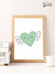 Valentine Print, Heart mint wings,  Valentines Day Print, sleepy Heart Poster, Valentines Poster, kids Print Art, Love Wall Art, Mint Art by ArtPrintsFactory on Etsy