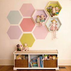 Honeycomb shelves add stylish storage to a space. Add a matching paint pattern with designer-inspired color collections from HGTV HOME™ by Sherwin-Williams®. Click the link in profile for project instructions and the paint colors. #lowes #DIY #paint #shelves