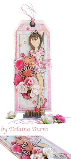Julie Nutting Prima Doll tag by Delaine Burns - Think Pink for Breast Cancer Awareness Month. Simple Pleasures Rubber Stamps and Scrapbooking.