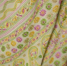 Colourful chikan embroidery - a variation from the common white on pastel