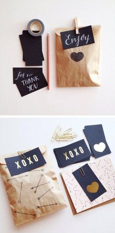50 Genius Valentine's Day Ideas for 2016 - Cute gift wrapping idea with gold letter X's and O's.